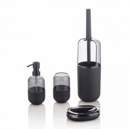 Moderne sammensætning af tilbehør til badeværelset i plastik og sort gummi - Noto