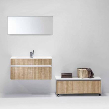 Suspenderet sammensætning af badeværelsesmøbler med moderne designspejl - Rossella