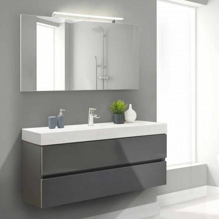 Badeværelseskab 140 cm, håndvask og spejl - Becky
