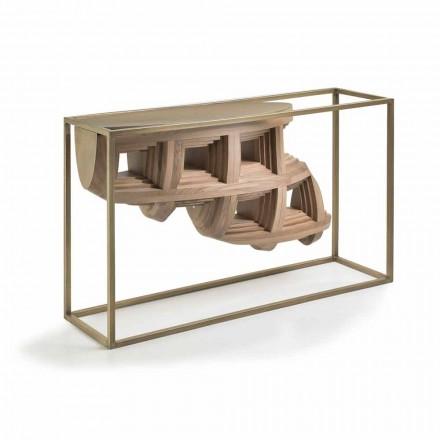 Konsol i træ design af luksus valnød og metal Pardo