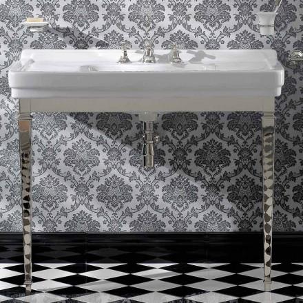 105 cm Vintage hvid keramisk badeværelse konsol med fødder, fremstillet i Italien - Marwa