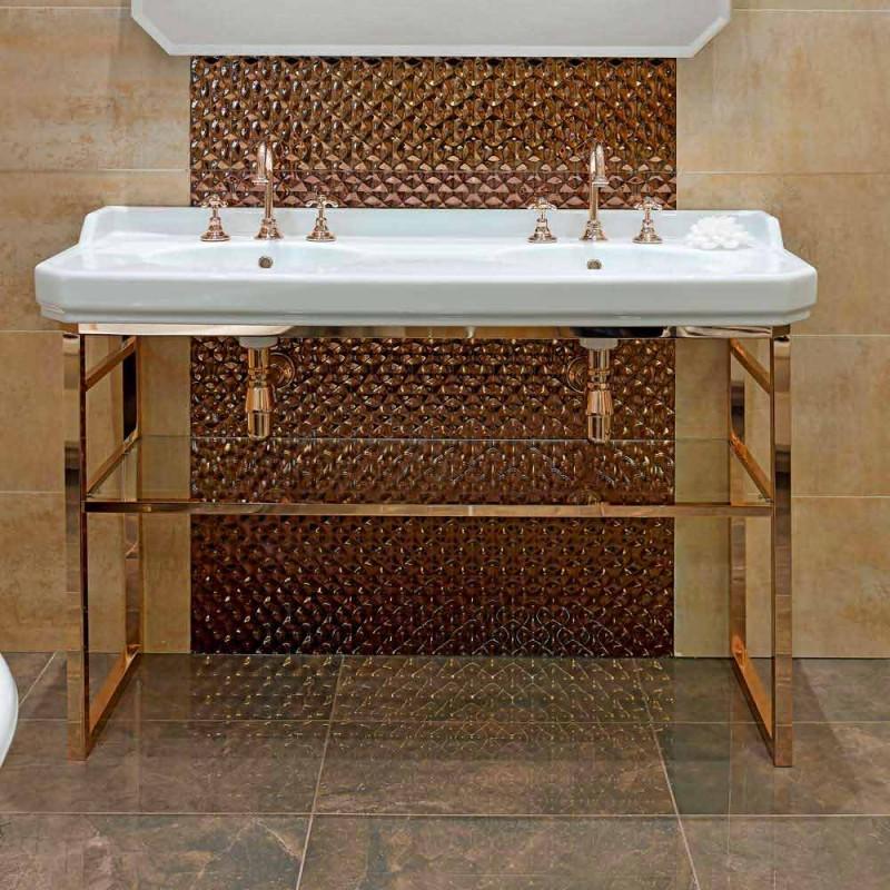 Badeværelseskonsol L 135 cm med dobbelt skål i keramik med fødder - Nausica