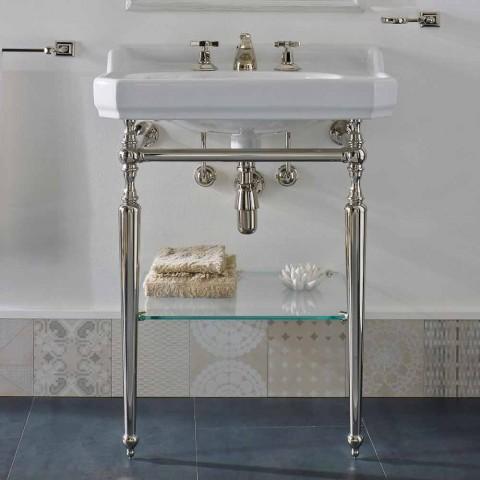 65 cm keramisk badeværelseskonsol med metalfødder fremstillet i Italien Nausica