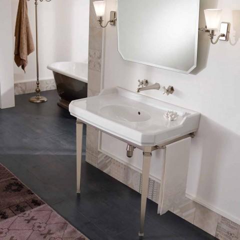 90 cm Vintage badeværelseskonsol, hvid keramik, med fødder fremstillet i Italien - Nausica