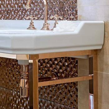 Vintage badeværelseskonsol L 135 cm med dobbelt skål i keramik med fødder - Nausica