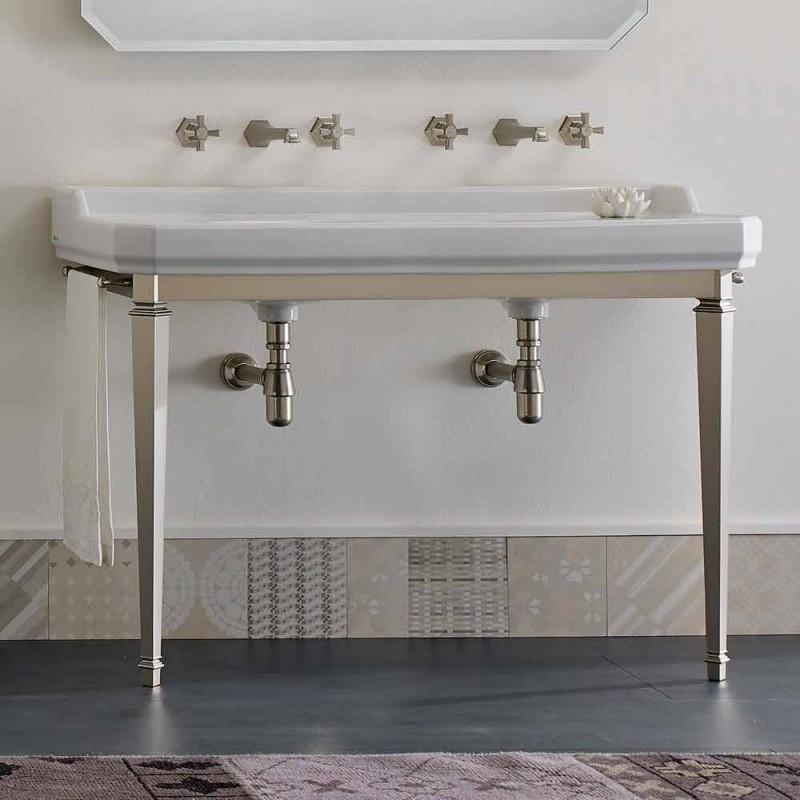Badeværelseskonsol L 135 cm med dobbelt skål i keramik fremstillet i Italien - Nausica