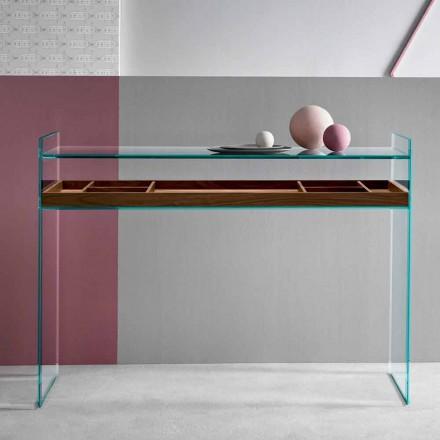 Designkonsol i Extraclear Glas med bakke fremstillet i Italien - Imperativo