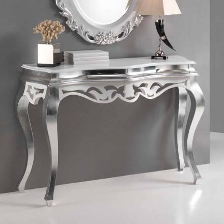 Konsol klassisk stil træ, sølv finish og hvid Kreta
