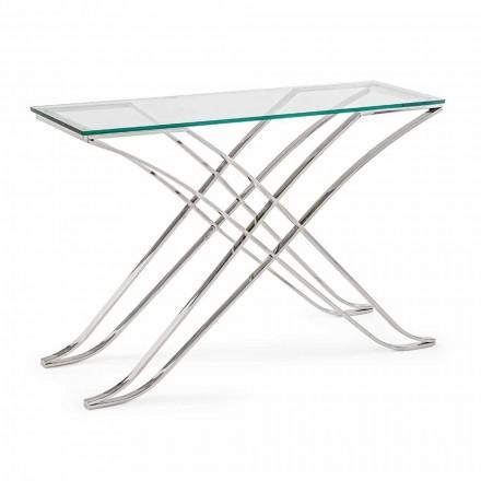 Konsol i hærdet glas og stålbase Modern Design Homemotion - Zafira