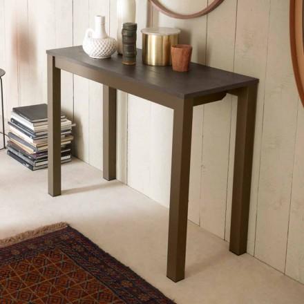 Udvidelig moderne bordkonsol i egetræ og metal fremstillet i Italien - Nappo