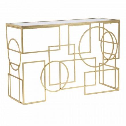 Rektangulær moderne designkonsol i jern og spejl - Billie
