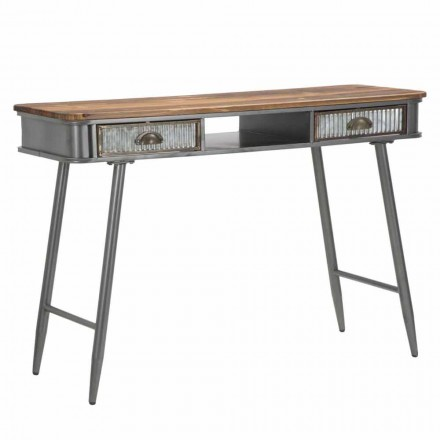Rektangulær jern- og trækonsol industriel design - Ermo