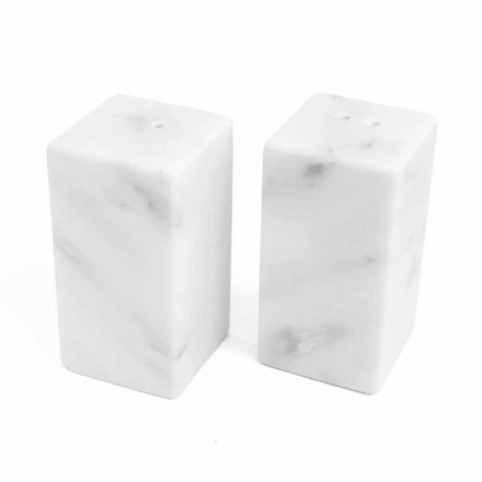 Salt- og peberbeholdere i hvid Carrara-marmor fremstillet i Italien - Julio