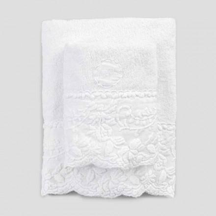 Par svampeansigt og gæstehåndklæder med kronbladbroderi - Gianciotto