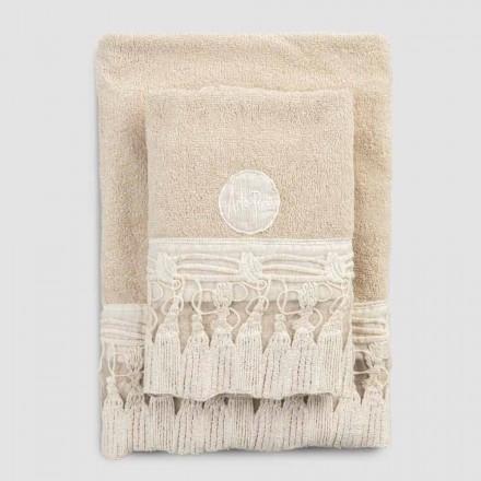 Par håndklæder ansigt og gæst i Terry bomuld med blonder kvaster - Arafico