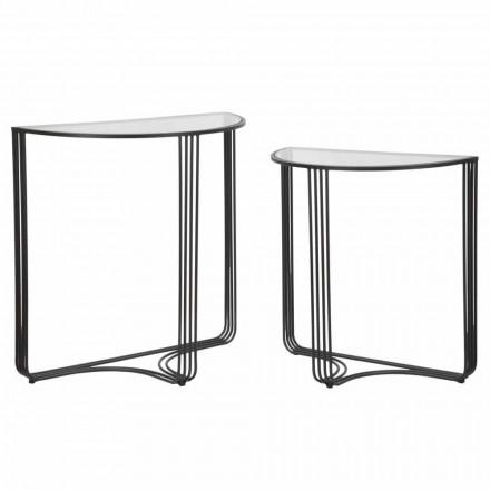 Par moderne designkonsoller i jern og glas - Ferdie