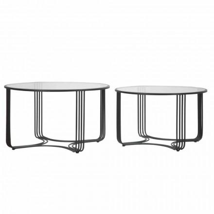 Par moderne runde lave kaffeborde i glas og jern - Mirna