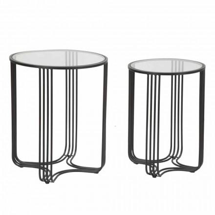 Par runde kaffeborde i glas og jern moderne design - Ezra
