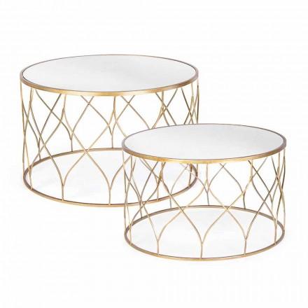 Et par runde kaffeborde i glas- og stålhæmning - Amarillide