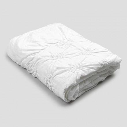 Queen Bed Cover i linned og bomuld med elegant luksusbroderi - Patrizio
