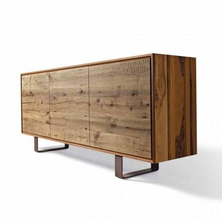 Moderne skænk med 3 døre naturlige valnød, L 215 x B 50 cm, Flora