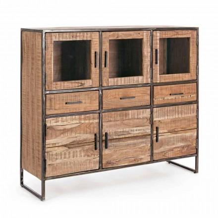 Skænk i industriel stil i Acacia træ og stål Homemotion - Zompo