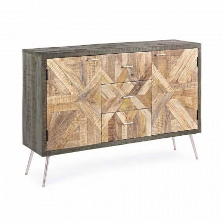Skænk i vintage stil med træstruktur og detaljer i stål - Adiva