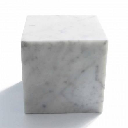 Cube Design Papirvægt i Satin Hvid Carrara Marble Fremstillet i Italien - Qubo