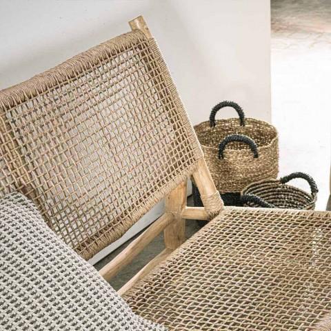 2-pers. Udendørssofa i teakgrene og syntetisk fiber - Tecno