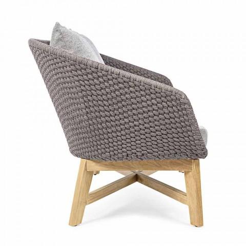 2-personers udendørssofa i stof med teakstruktur, Homemotion - Azeno
