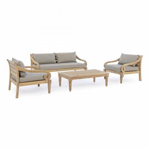 2-personers have sofa i teaktræ med aftagelige puder, Homemotion - Harry