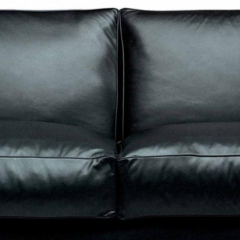 2 -personers lædersofa med valnøddetræsfødder fremstillet i Italien - Alessandria