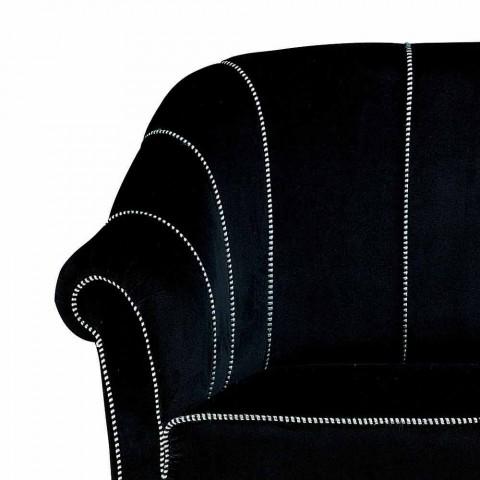 2 -personers sofa i sort fløjl med kontrastsyninger Fremstillet i Italien - Caster
