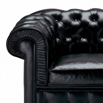 2 -personers sofa dækket i læder med træfødder fremstillet i Italien - Idra