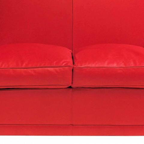2 -personers sofa dækket i læder med lakerede fødder fremstillet i Italien - Pegolo