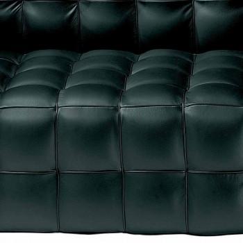 2 -personers sofa betrukket med quiltet effektlæder fremstillet i Italien - Vesuvio