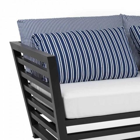 3-pers. Udendørssofa i hvide eller sorte aluminiumspuder og blå puder - Cynthia