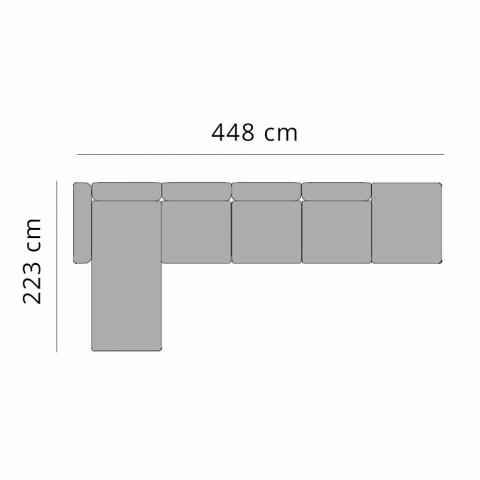 3-personers udendørssofa i aluminium med forlænger og chaiselong - Filomena