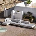 3-personers udendørs sofa i aluminium med puf og chaiselong - Filomena