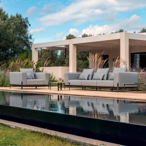 3-personers udendørssofa i designaluminium og stof i 3 finish - Filomena