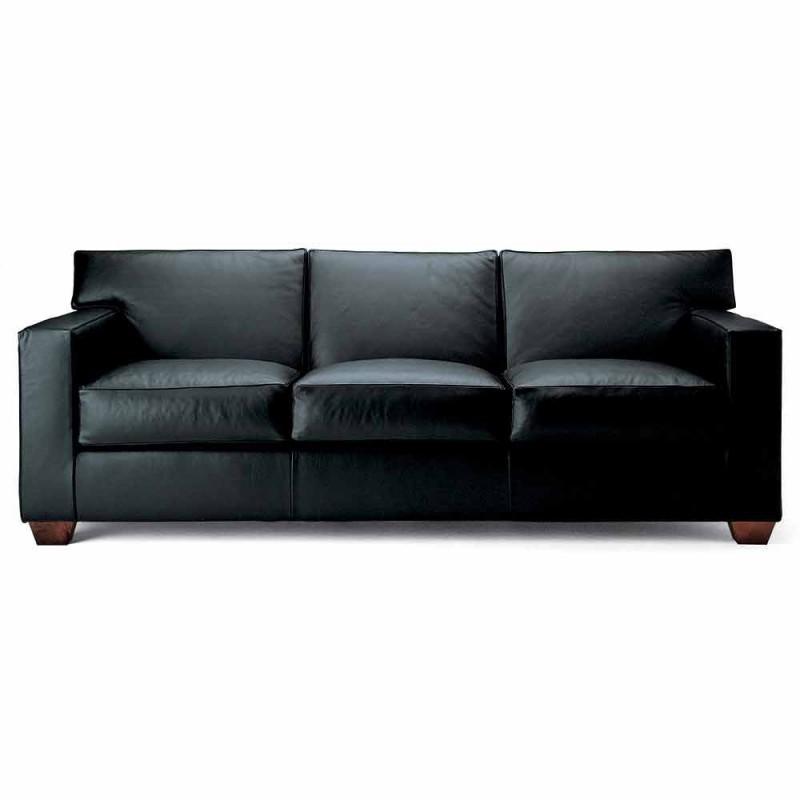 3 -personers sofa dækket i læder med valnøddefødder fremstillet i Italien - Alessandria