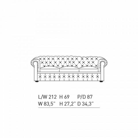 3 -personers sofa betrukket med læder med lakerede fødder fremstillet i Italien - Idra