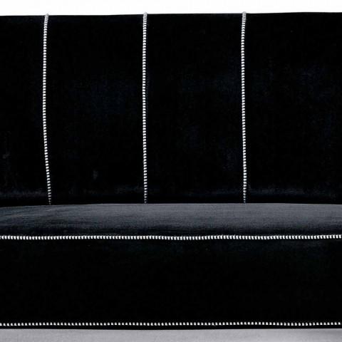 3 -personers sofa betrukket med fløjl med hvide syninger fremstillet i Italien - Caster