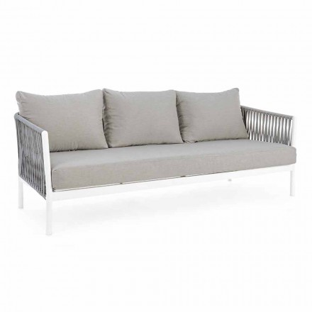 Homemotion - Rubio 3-personers design udesofa i hvid og grå