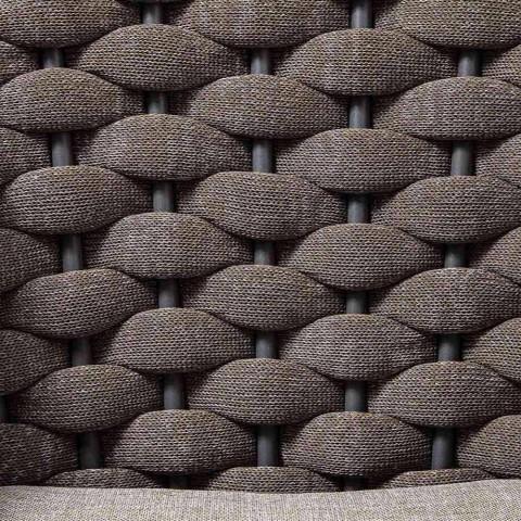 3-pers. Havesofa i aluminium og reb med stofpuder - Rasti