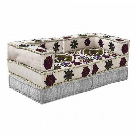To-personers sofa i etnisk design i lappet stof - fiber