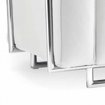Moderne to-pers. Sofa i hvidt øko-læder og Bugola krom dele