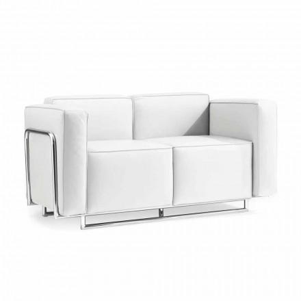 Sofa med to moderne steder i hvidt kunstlæder og krom dele Bugle