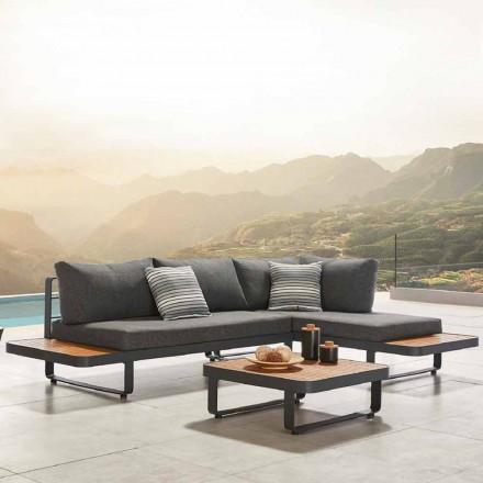 Udendørs hjørnesofa med design teak og sofabord af aluminium - Cender