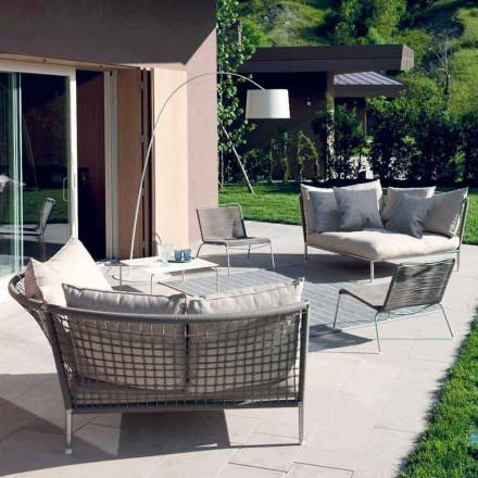 Cirkulær Have Sofa Stof Duvegrå Fremstillet i Italien Design - Ontario4
